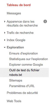 outil de test du fichier robots.txt